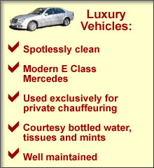 Luxury Mercedes - hire a spotlessly clean chauffeur driven car